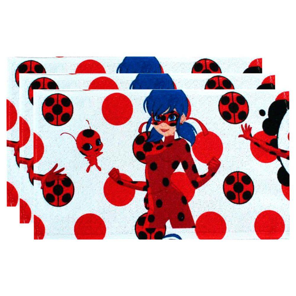 Toalha de Mão Kit 3 Peças Ladybug