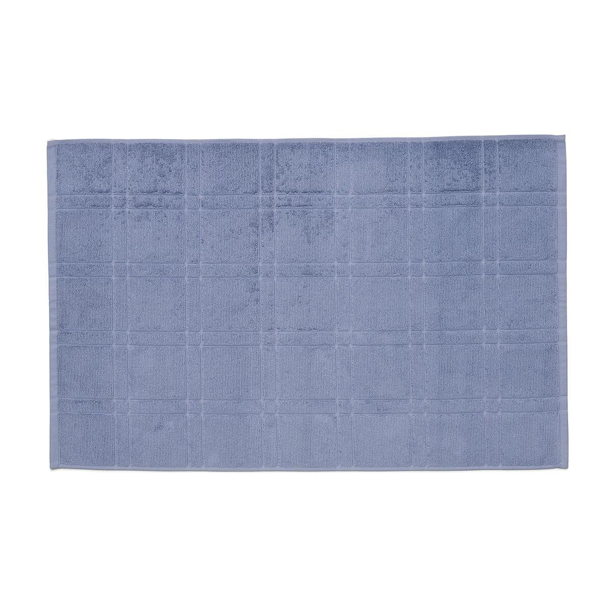 Toalha de Piso Felpuda Antiderrapante Square Azul