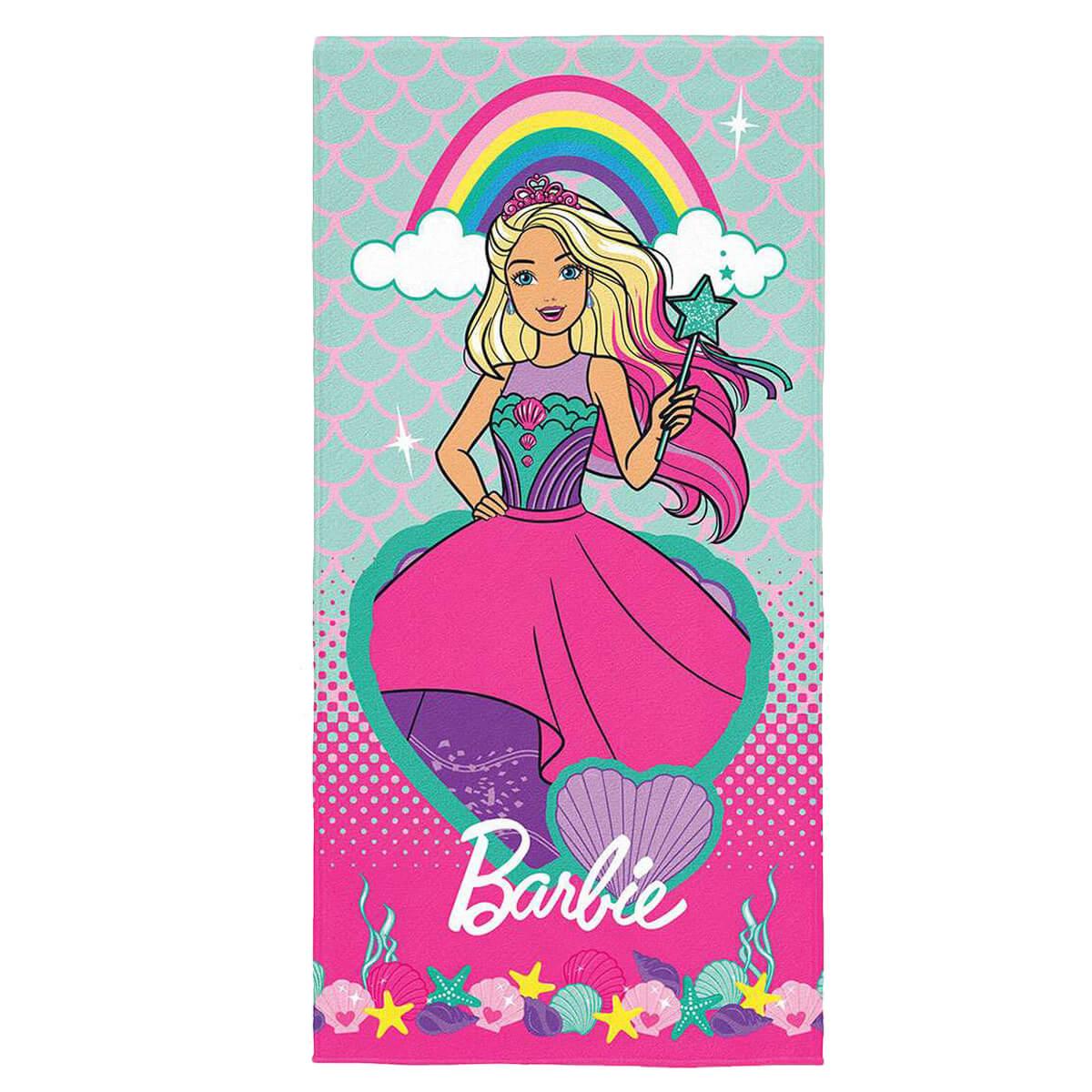 Toalha de Praia Infantil Aveludada Barbie
