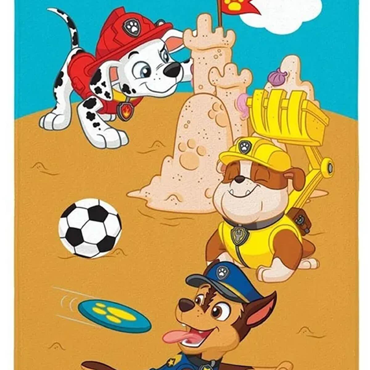 Toalha de Praia Infantil Aveludada Patrulha Canina Beach Time