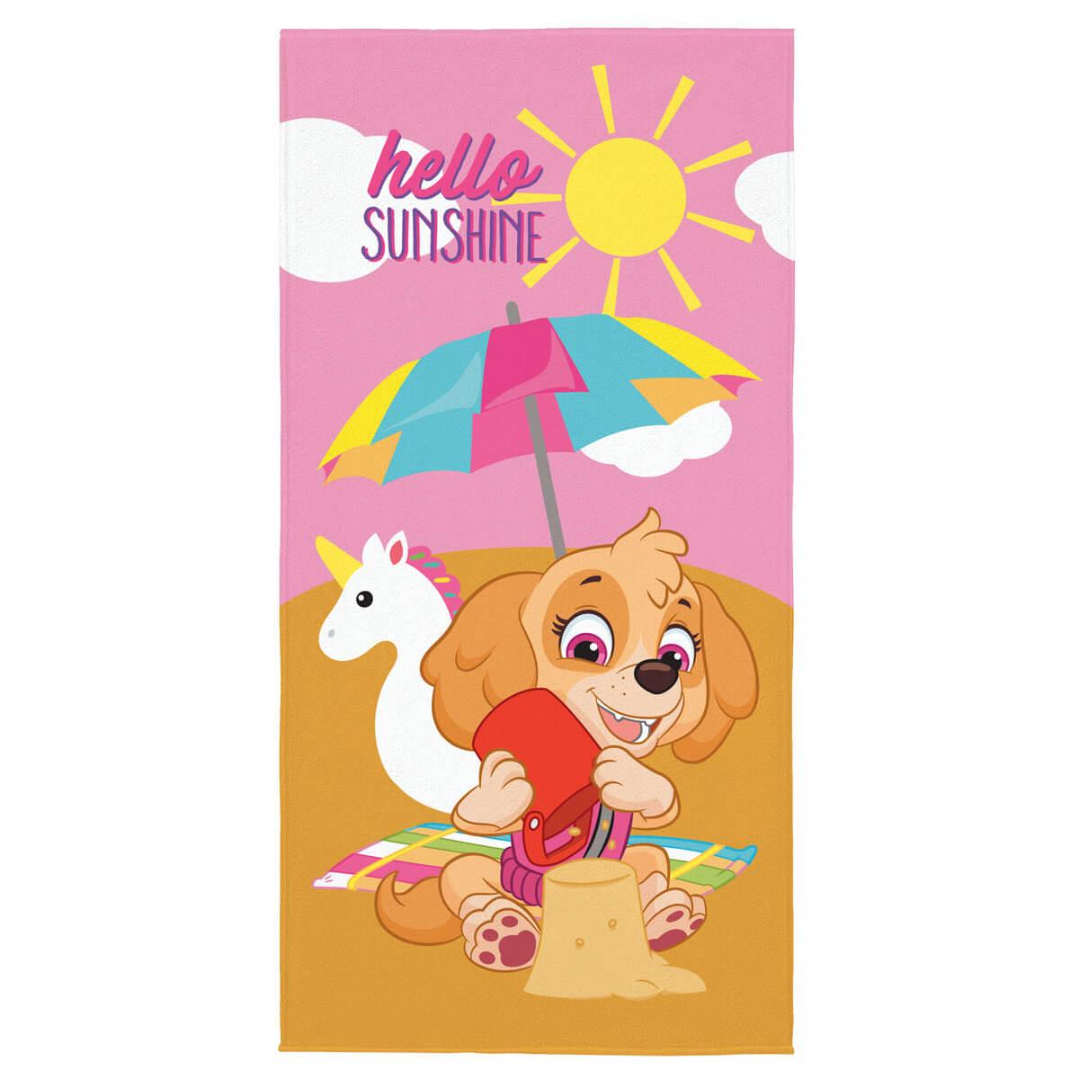 Toalha de Praia Infantil Aveludada Patrulha Canina Hello Sunshine