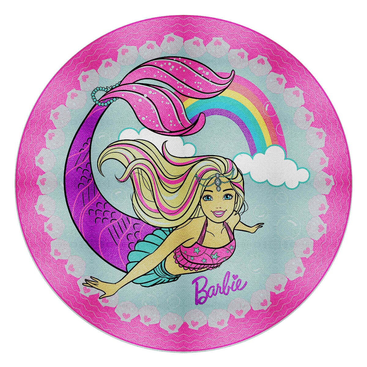 Toalha de Praia Infantil Aveludada Redonda Barbie Arco Íris