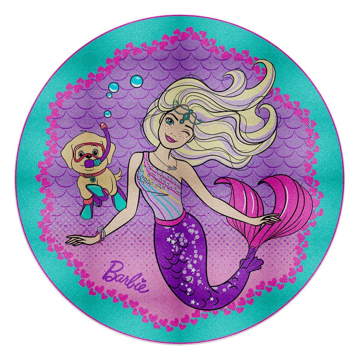 Toalha de Praia Infantil Aveludada Redonda Barbie Pet