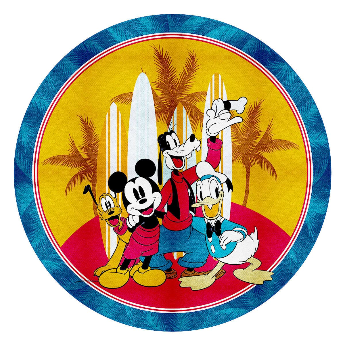 Toalha de Praia Infantil Aveludada Redonda Mickey Turma do Mickey