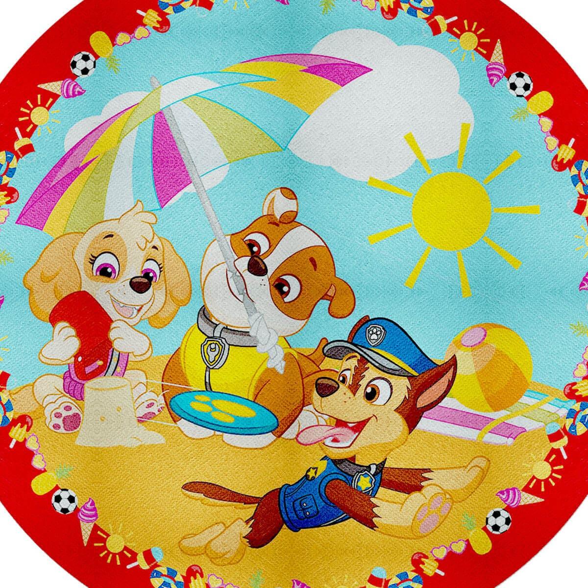 Toalha de Praia Infantil Aveludada Redonda Patrulha Canina Beach