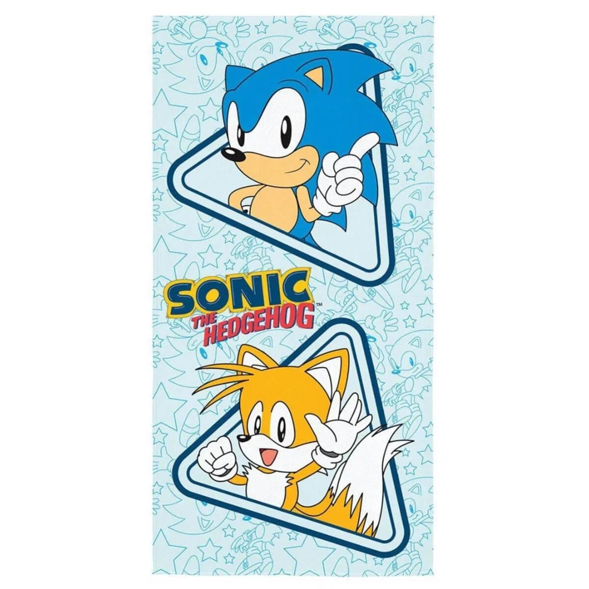 Toalha de Praia Infantil Aveludada Sonic