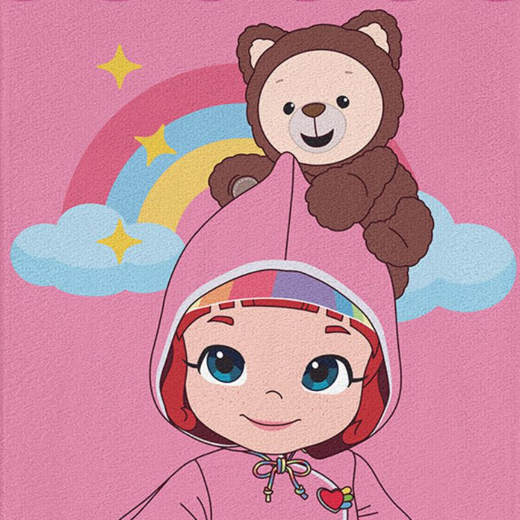 Toalha de Praia Infantil Aveludada Rainbow Ruby