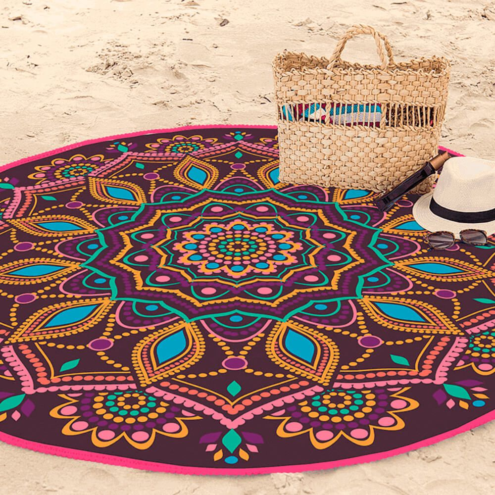 Toalha de Praia Aveludada Redonda Mandala