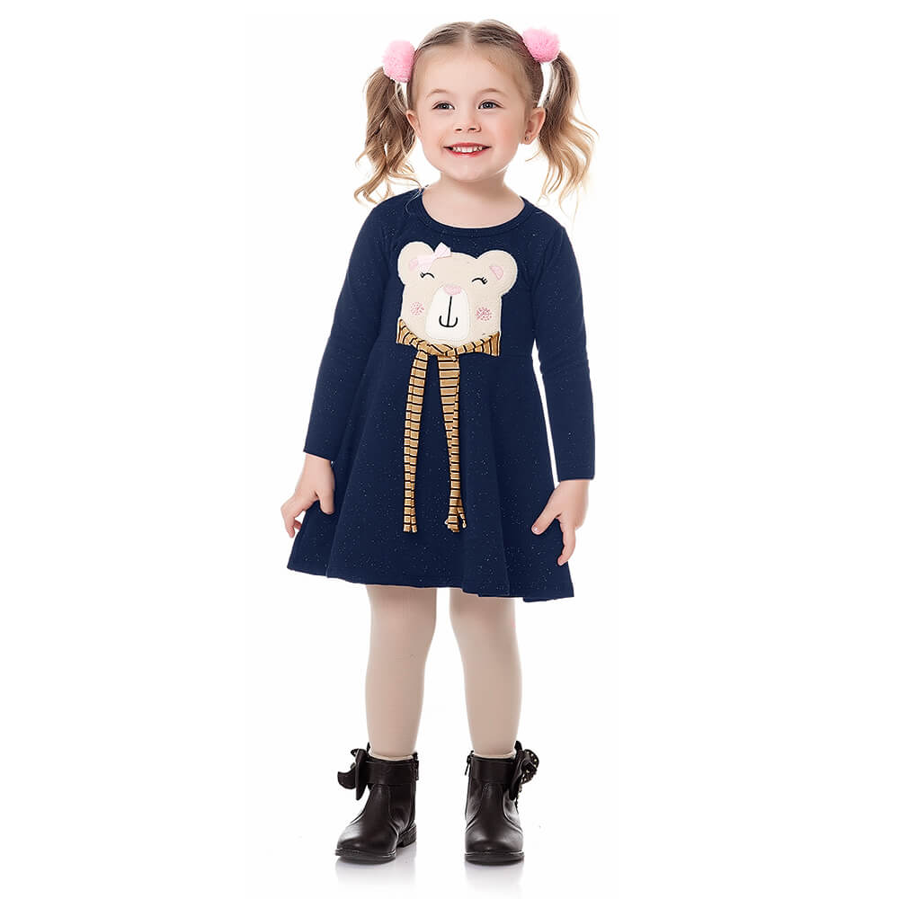 Vestido Bebê Menina Manga Longa Ursinho Marinho