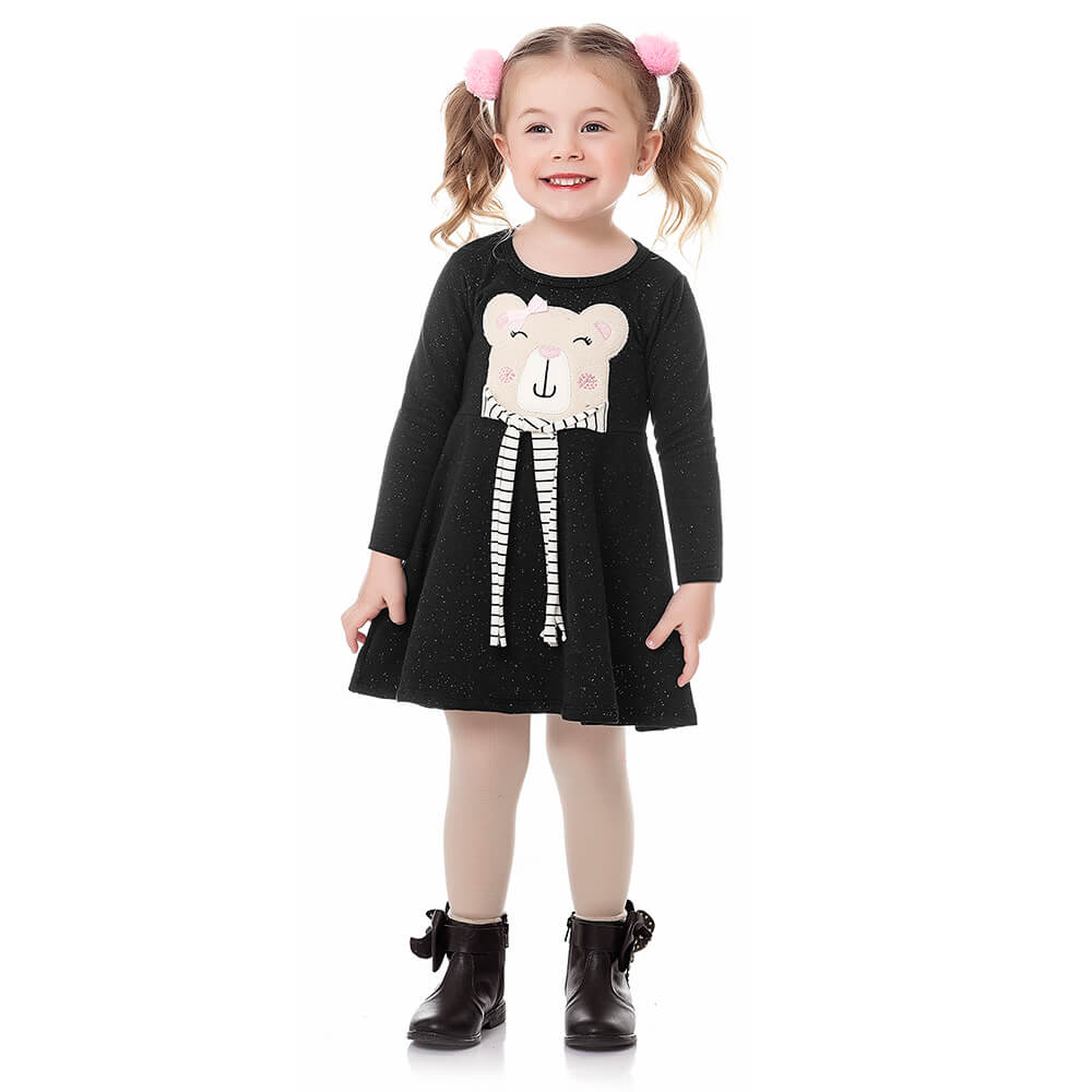 Vestido Bebê Menina Manga Longa Ursinho Preto