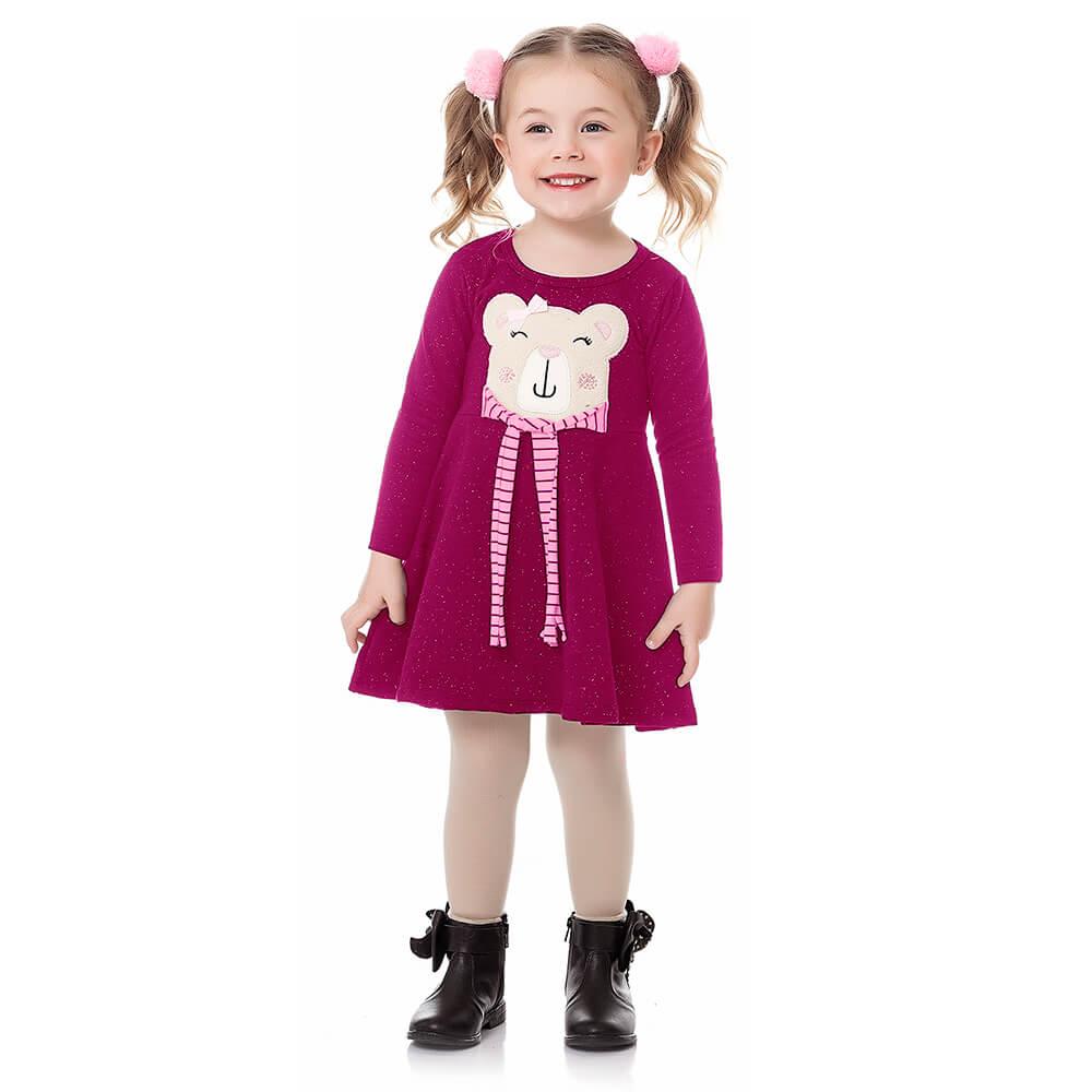 Vestido Bebê Menina Manga Longa Ursinho Rosa