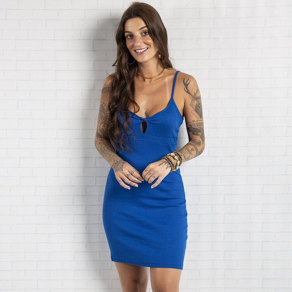 Vestido Feminino Alça Madri Azul