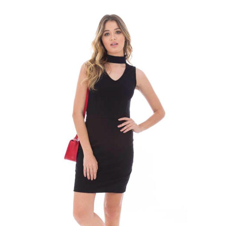 Vestido Feminino Básico Preto Gola Gargantilha