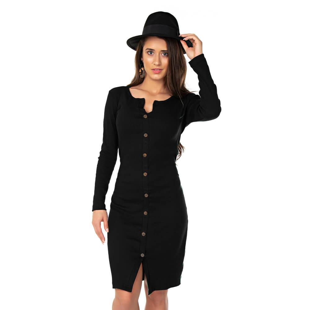 Vestido Feminino Canelado York Preto