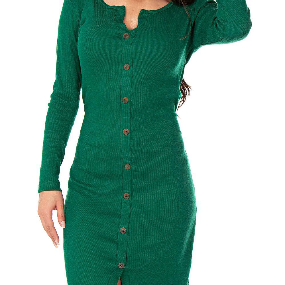 Vestido Feminino Canelado York Verde