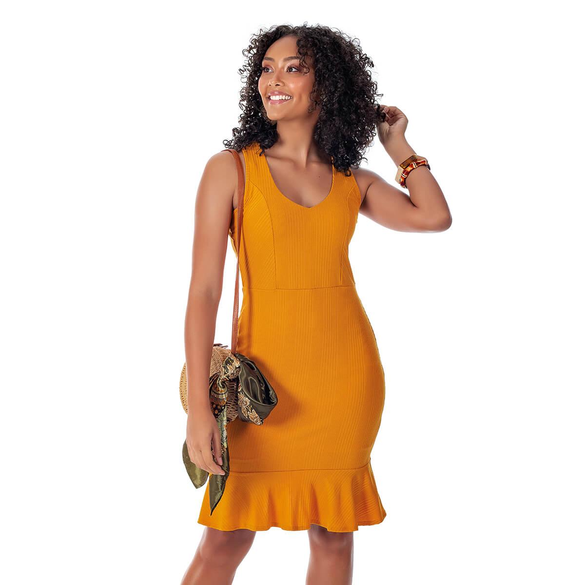 Vestido Feminino Curto Canelado Essencial