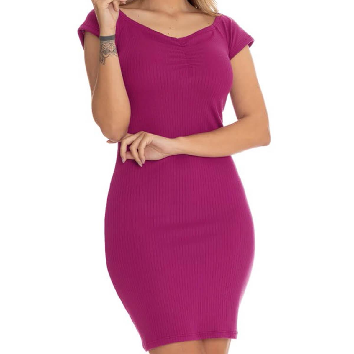 Vestido Feminino Curto Cetim Canelado Ombro a Ombro Pink