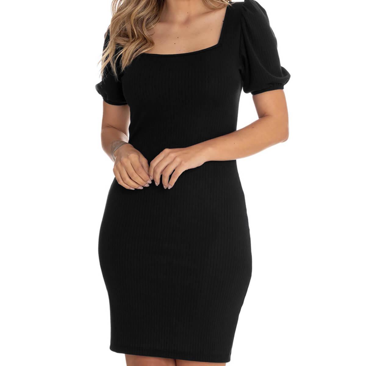 Vestido Feminino Curto Cetim Canelado Preto