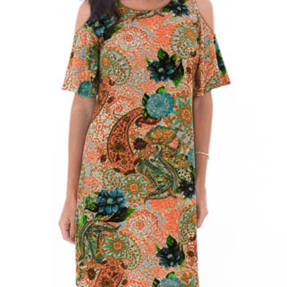 Vestido Feminino Estampa Étnica Laranja