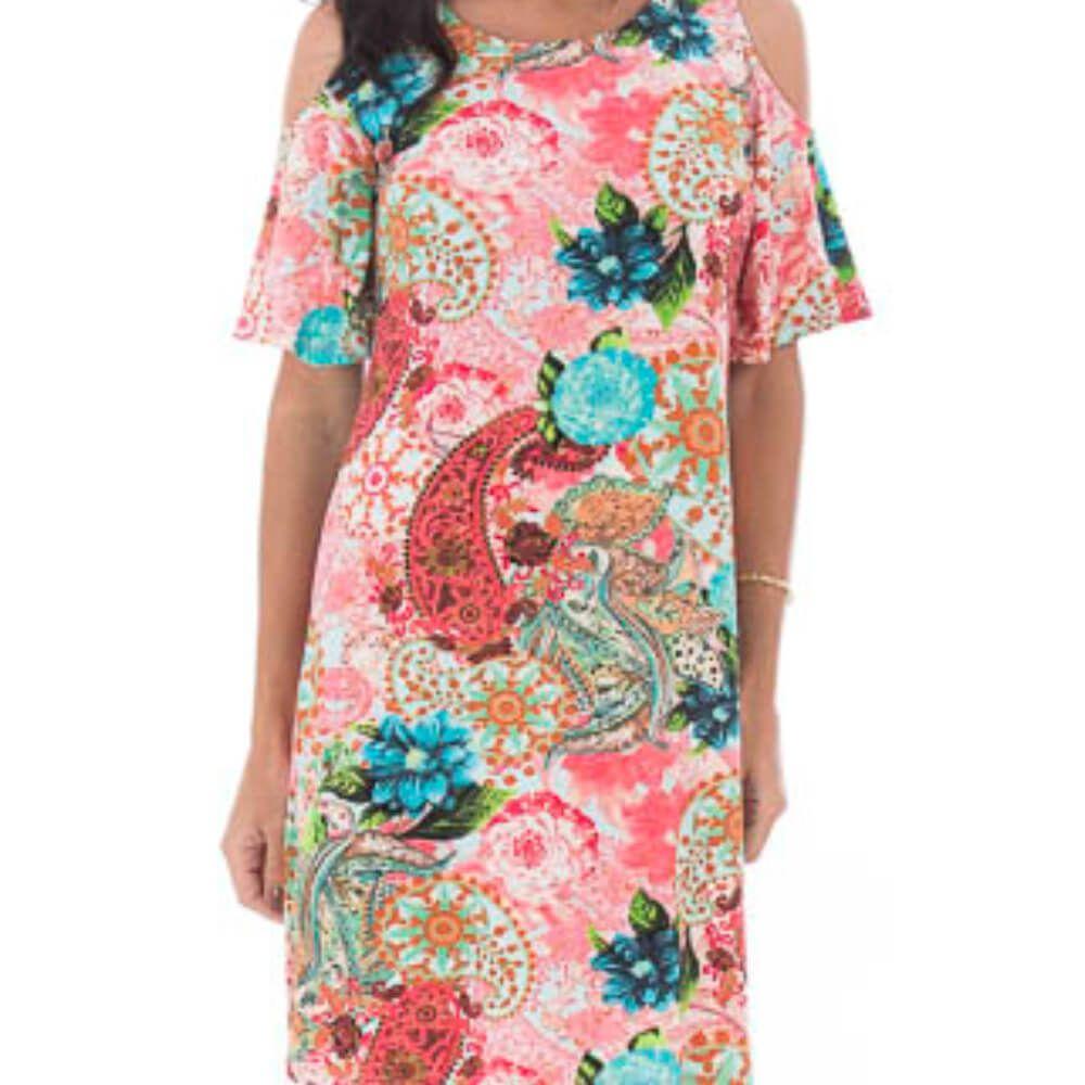 Vestido Feminino Estampa Étnica Rosa