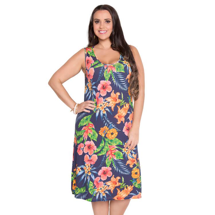 Vestido Feminino Flores Tropicais Plus Azul