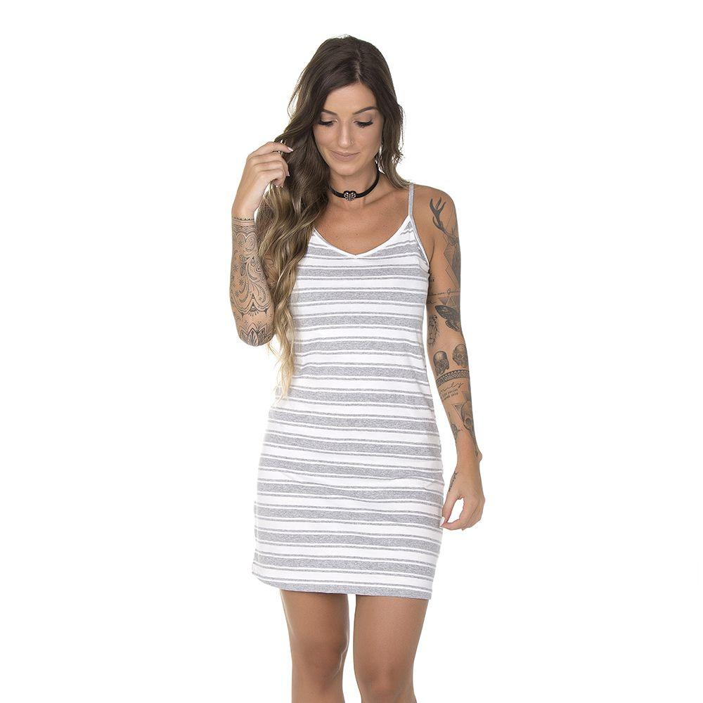 Vestido Feminino Alça Listrado Cinza