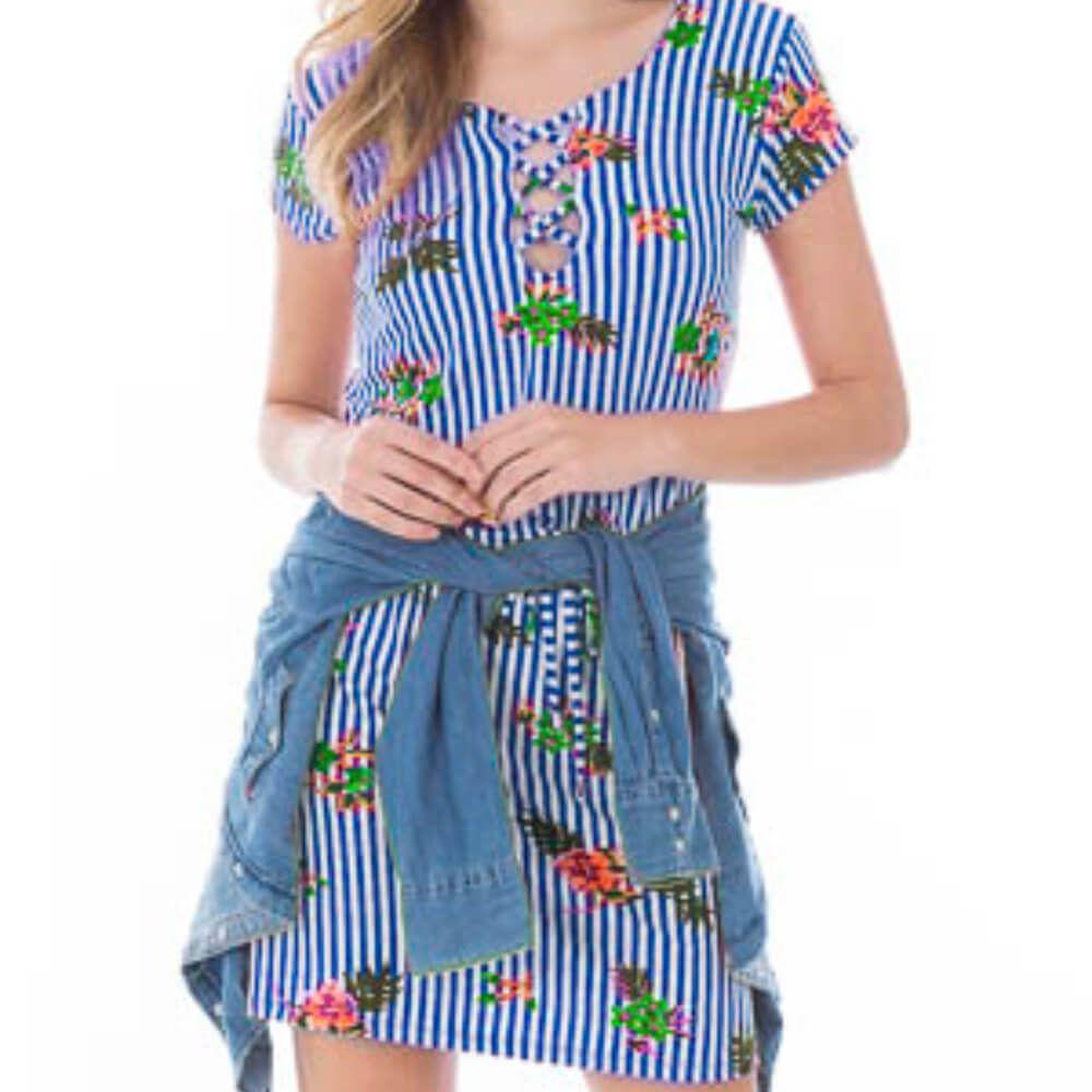 Vestido Feminino Listrado Floral Azul