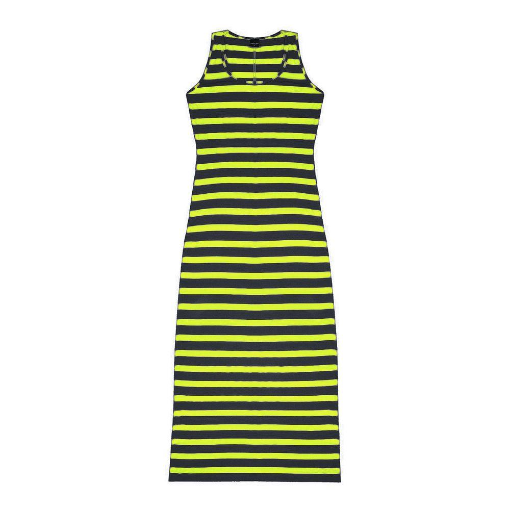 Vestido Feminino Longo Listrado Amarelo