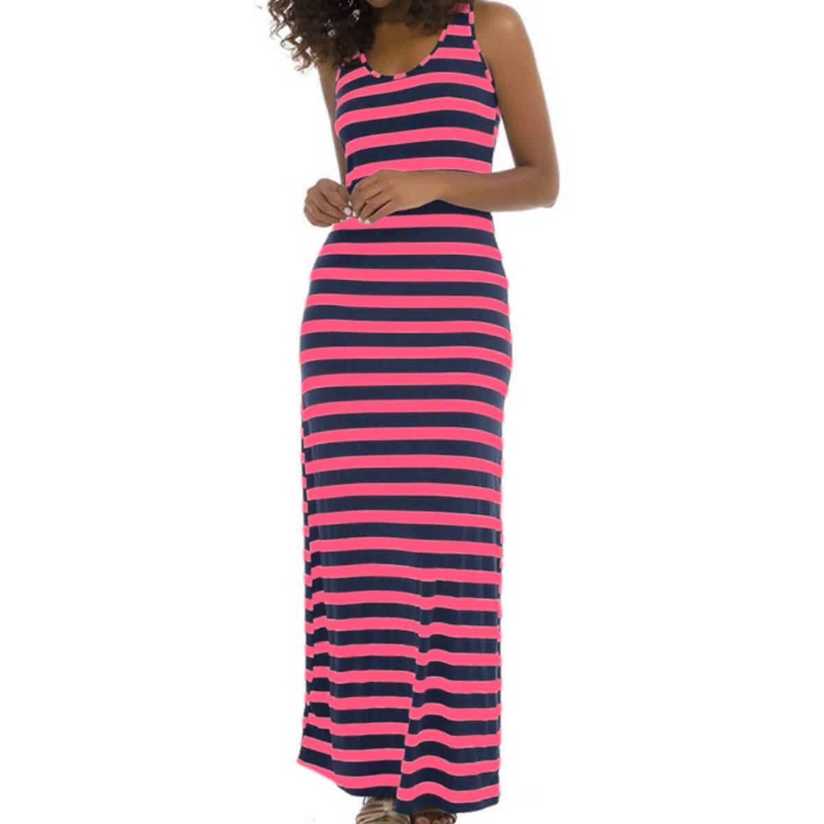 Vestido Feminino Longo Listrado Fúcsia