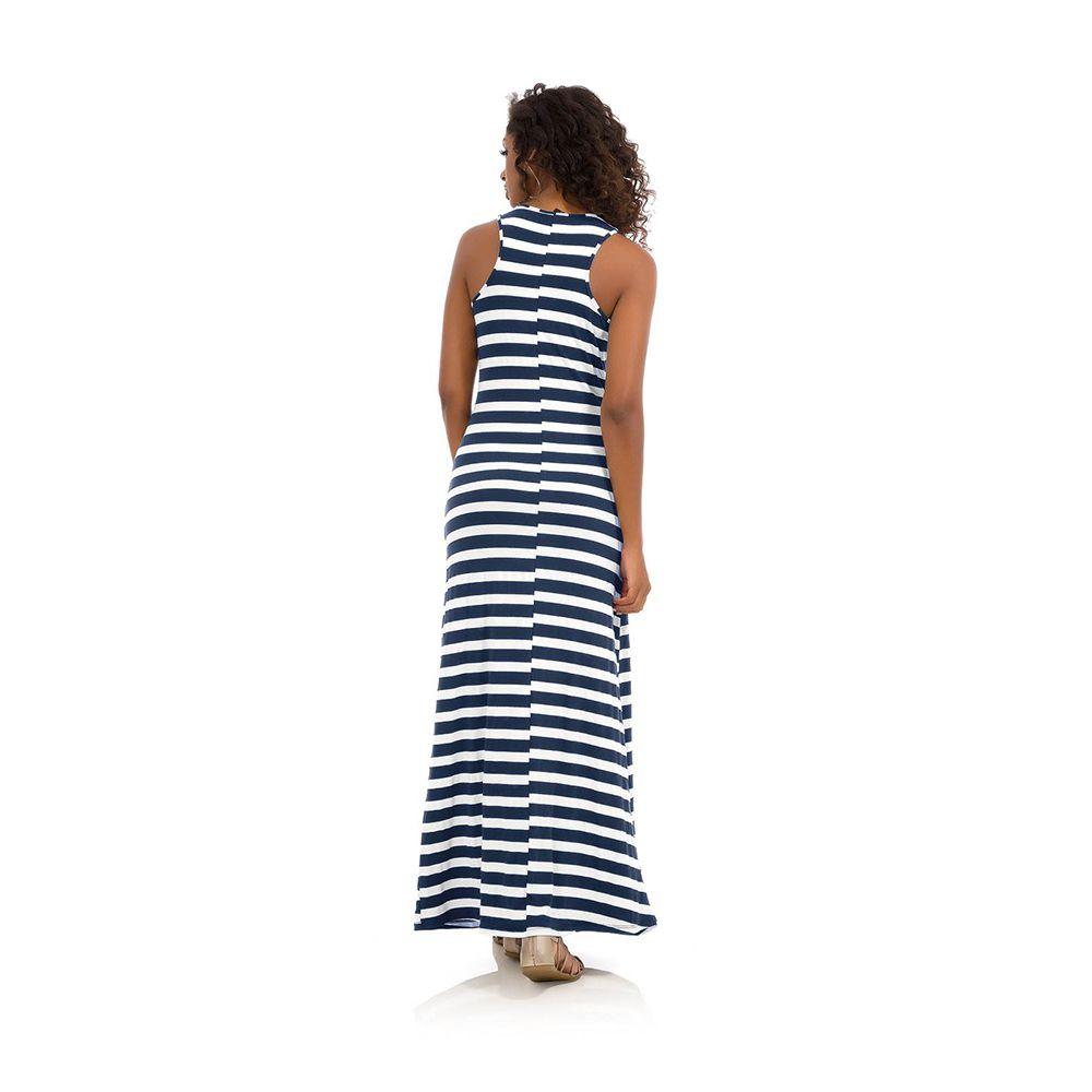 Vestido Feminino Longo Listrado Marinho