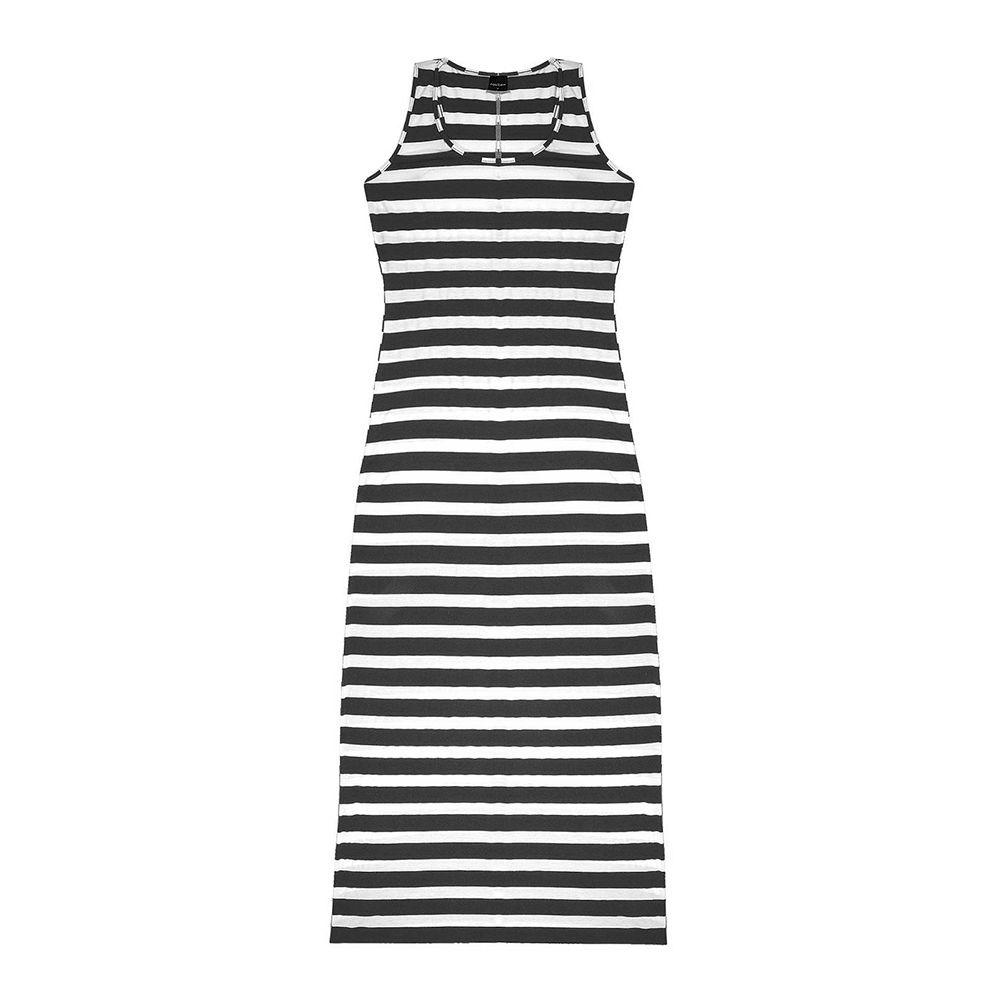 Vestido Feminino Longo Listrado Preto