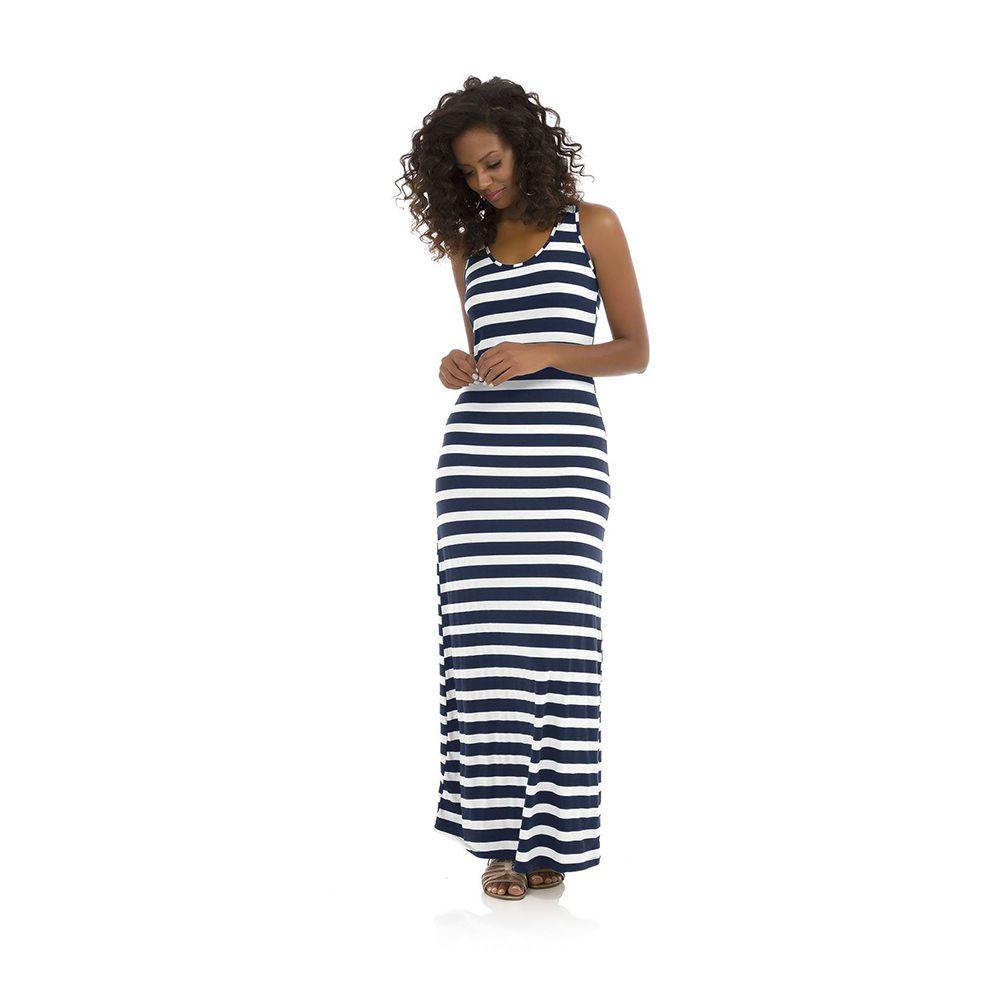 Vestido Feminino Longo Listrado Roxo