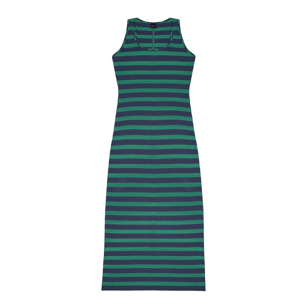 Vestido Feminino Longo Listrado Verde