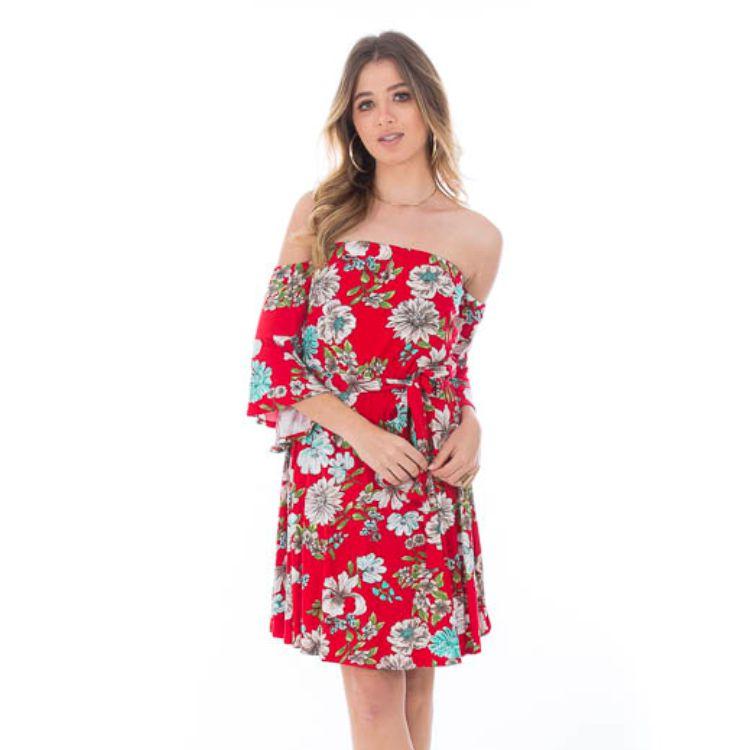 Vestido Feminino Ombro a Ombro Vermelho Floral