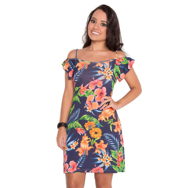 Vestido Feminino Ombro Vazado Flores Tropicais Azul