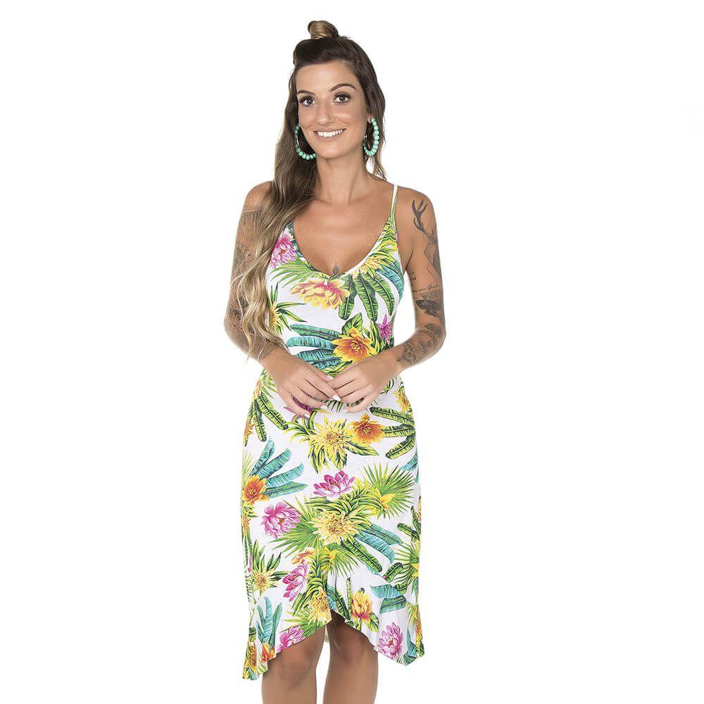 Vestido Feminino Alças Flores Tropicais