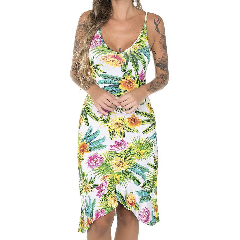 Vestido Feminino Regata Tropical Flower