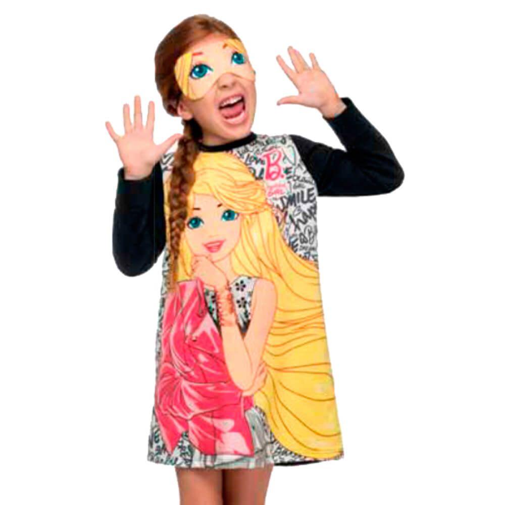 Vestido Infantil Barbie com Máscara Preto