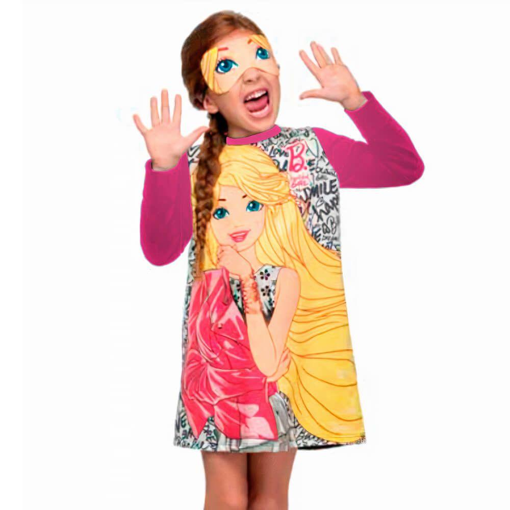 Vestido Infantil Menina Manga Longa Barbie com Máscara Rosa