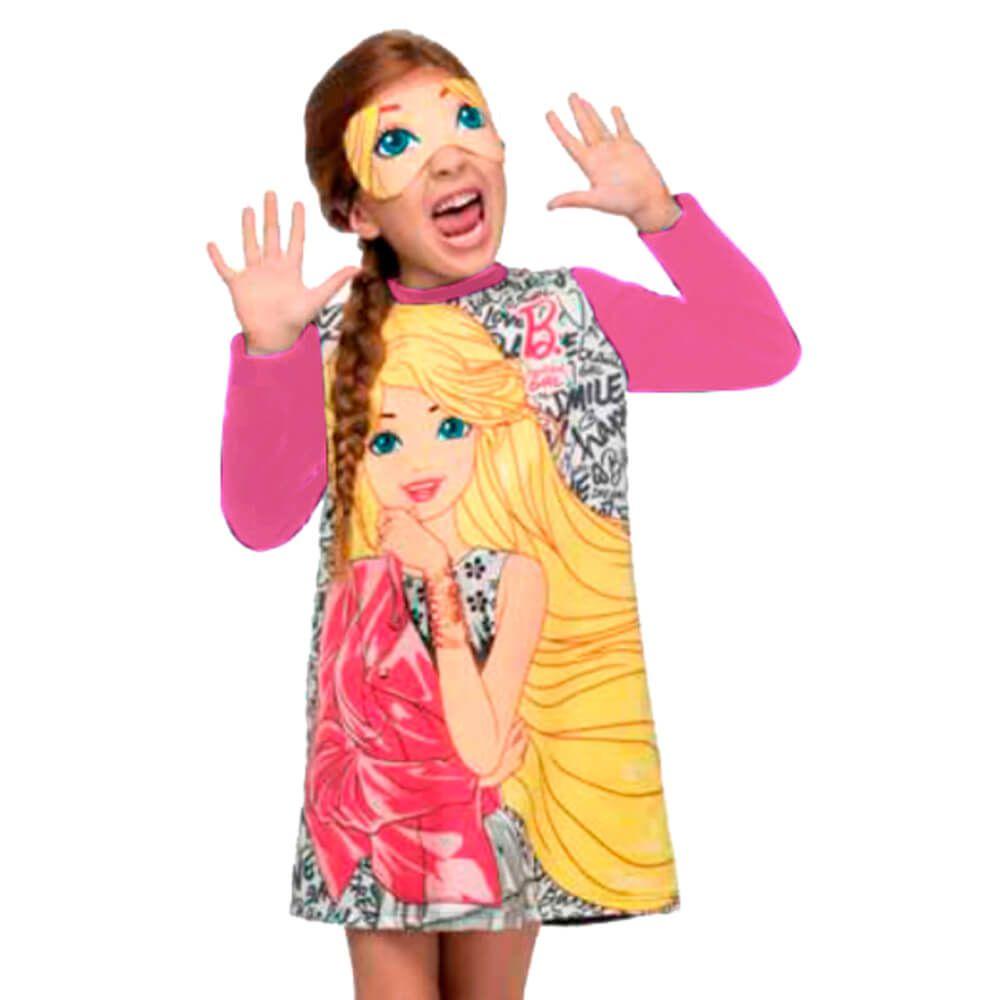 Vestido Infantil Barbie com Máscara Rosa