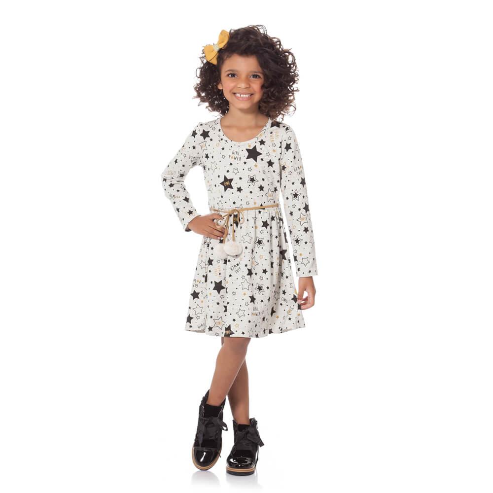 Vestido Infantil Girl Power Cinza