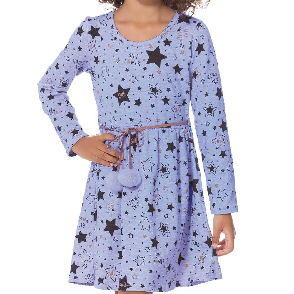 Vestido Infantil Girl Power Lilás