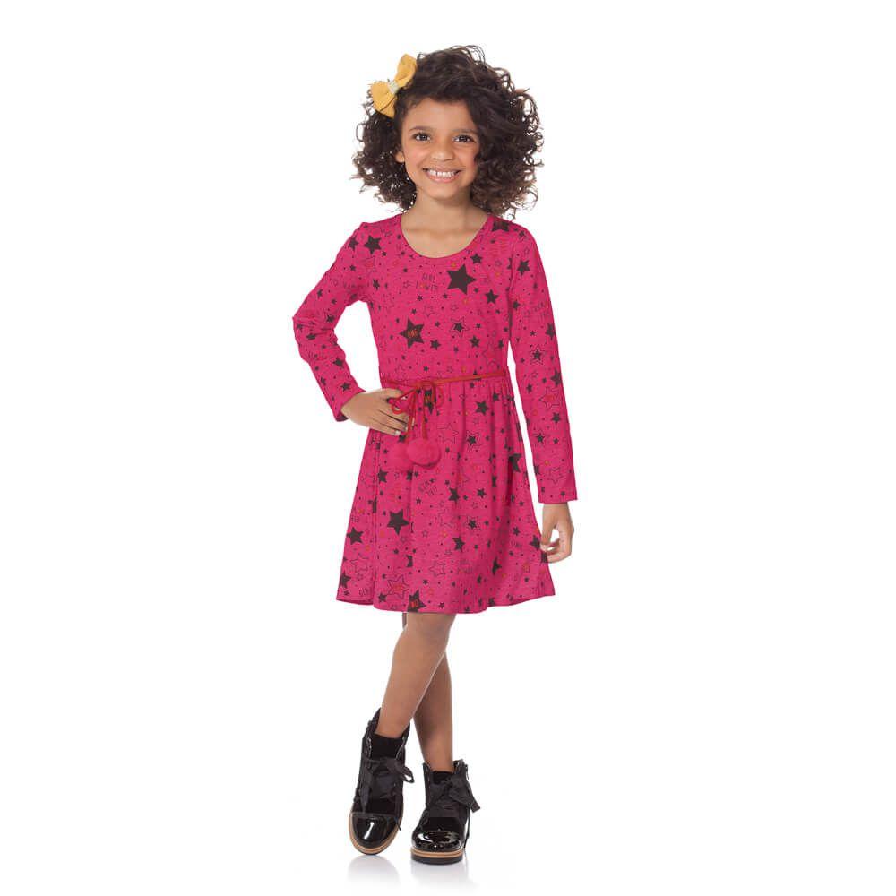 Vestido Infantil Menina Manga Longa Girl Power Pink