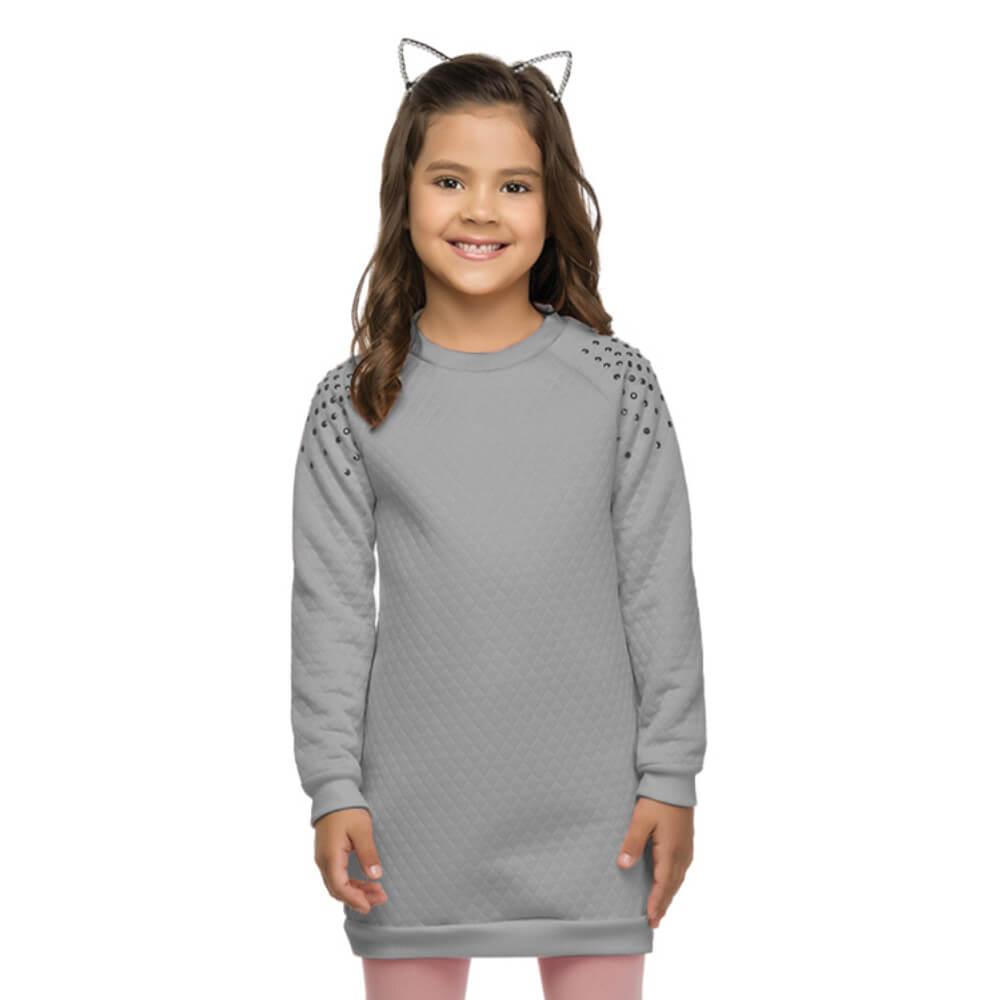Vestido Infantil Matelassê Cinza