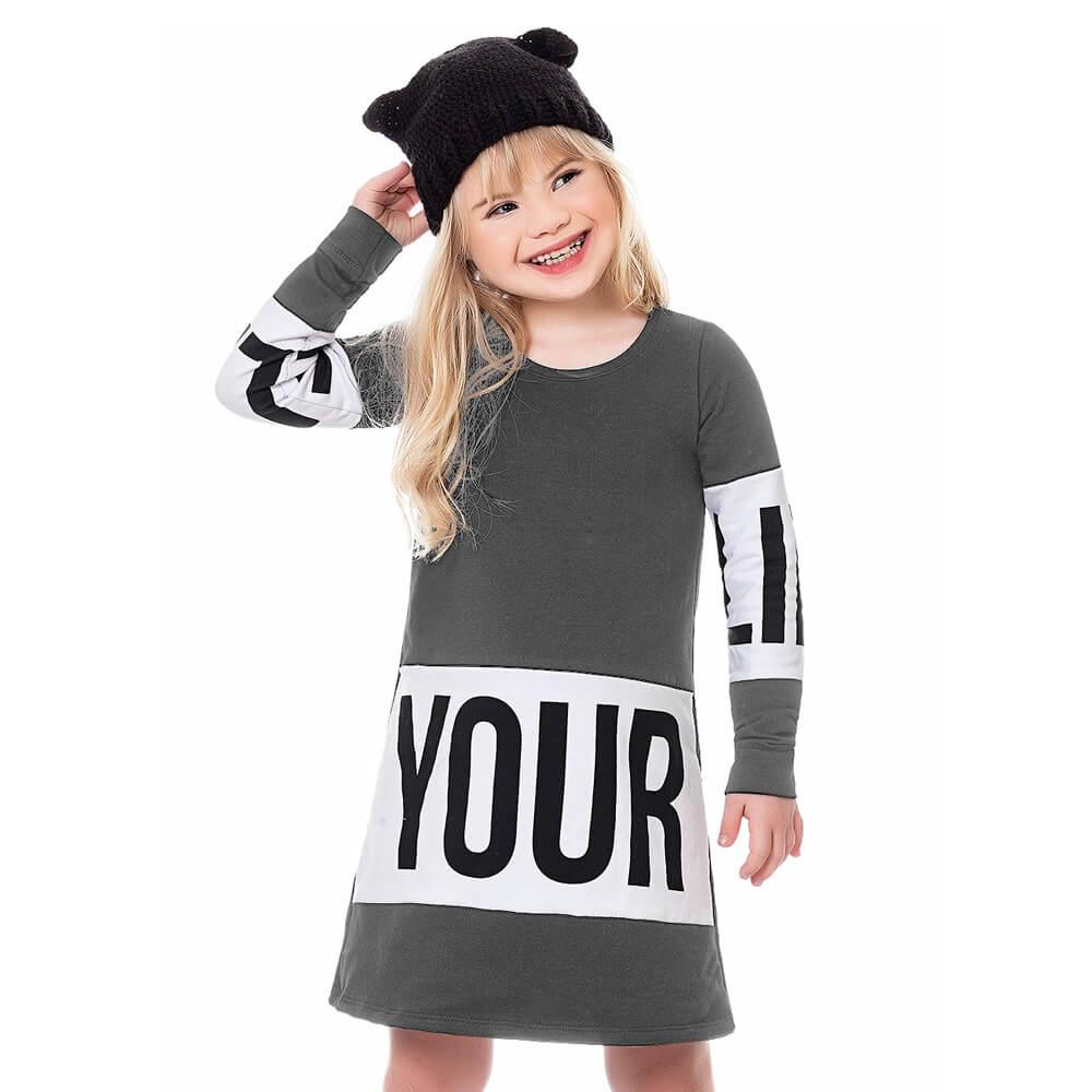 Vestido Infantil Menina Your Cinza
