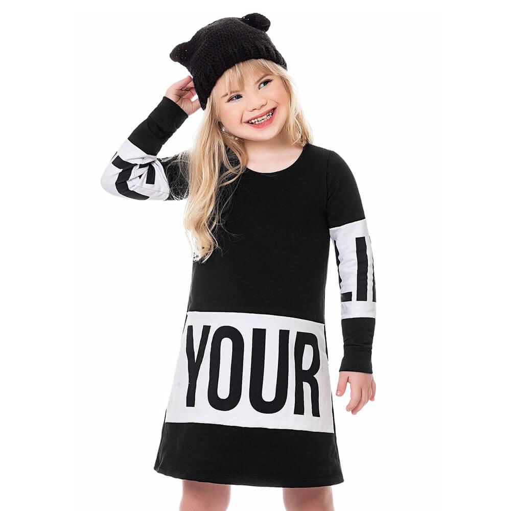 Vestido Infantil Menina Your Preto