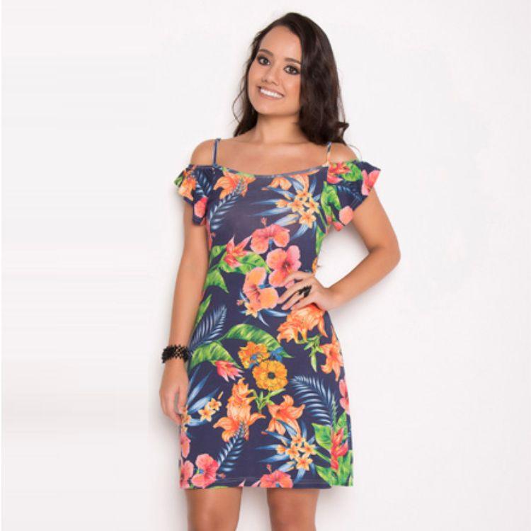 Vestido Tropical Ciganinha Azul