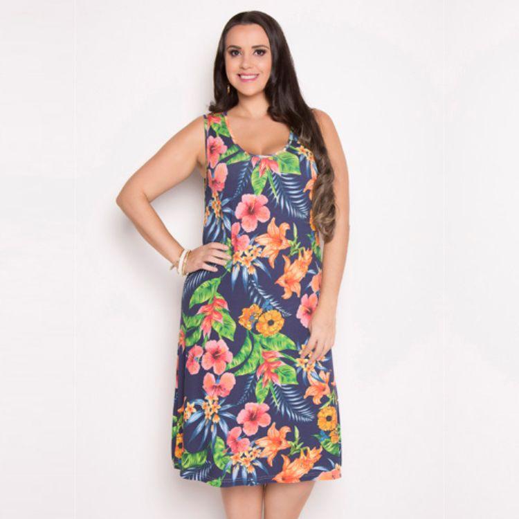 Vestido Feminino Tropical Regata Plus