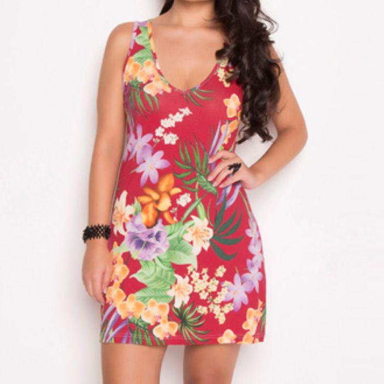 Vestido Tropical Regata Vermelho