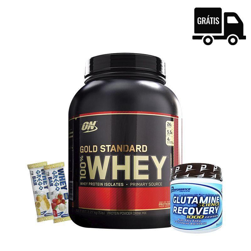 100% Whey Gold Standard 5lbs + Glutamina 300g + 2x Whey Grego Bar